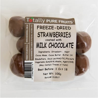 Image of Totally Pure Fruits - Milk Chocolate Coated Strawberries